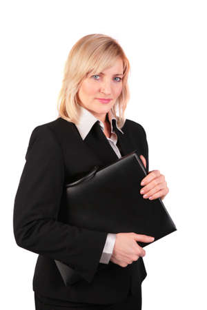 Middleaged businesswoman with black folder photo