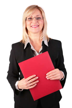 Middleaged businesswoman with red folder photo