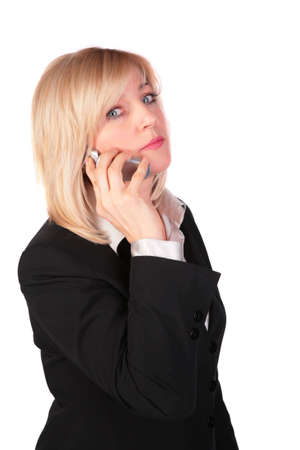 Middleaged businesswoman with cellphone photo