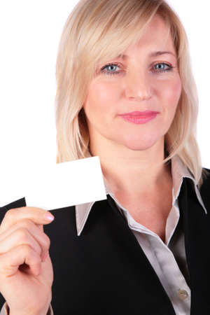Middleaged businesswoman shows white card photo