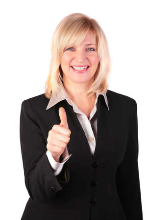 Middleaged woman gives gesture OK photo