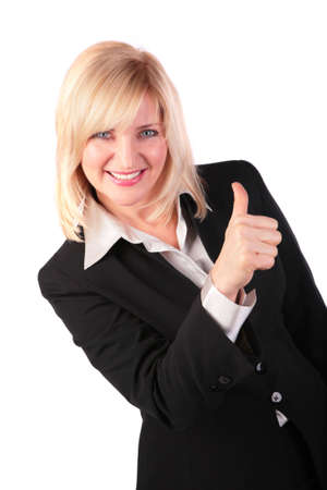 Middleaged woman gives gesture ok 2 photo