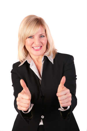 Middleaged woman gives gesture 3 two finger ok photo
