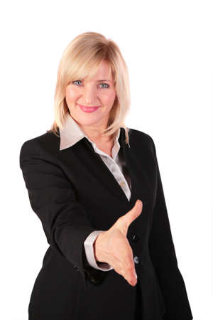 Middleaged woman gives hand photo