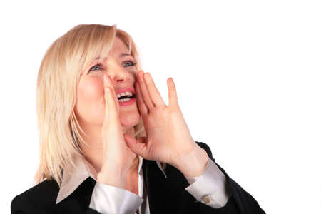 Middleaged woman screams photo