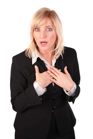 Middleaged business woman surprised photo