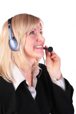 Middleaged woman with headset photo