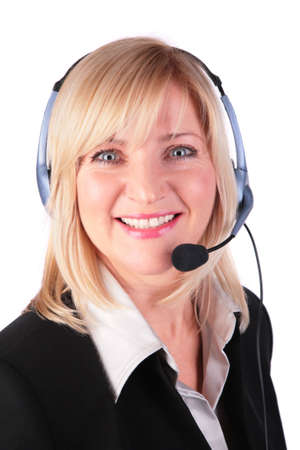 Middleaged woman with headset 3 photo