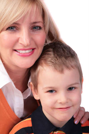 Middleaged woman with boy 2 photo