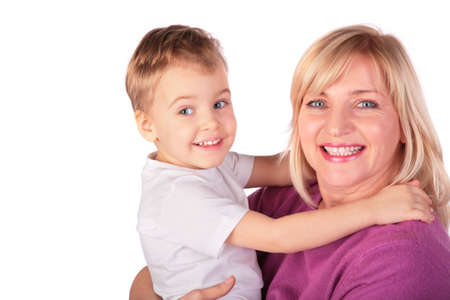 Woman with kid faces close-up 4 Stock Photo - 3023439