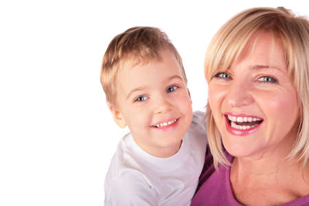 Woman with kid faces close-up 2 Stock Photo - 3023440