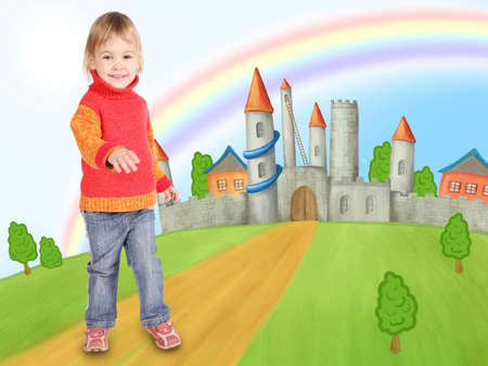 little girl and castle