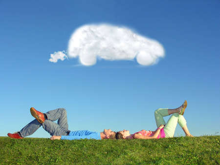 couple and cloud dream car Stock Photo - 5147217