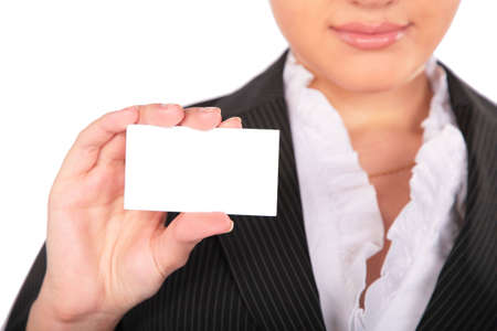 young woman with card for text photo
