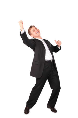 Young man in suit dancing photo