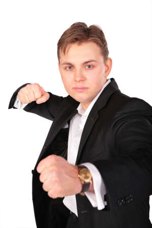 Aggressive man in suit photo