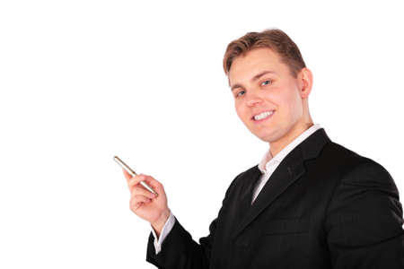 Young man in suit show something Stock Photo - 5134438