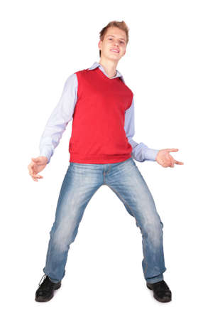 Boy in red jacket dancing photo
