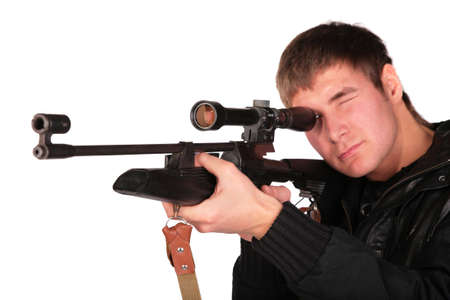 special service agent: young man to aim from sniper gun