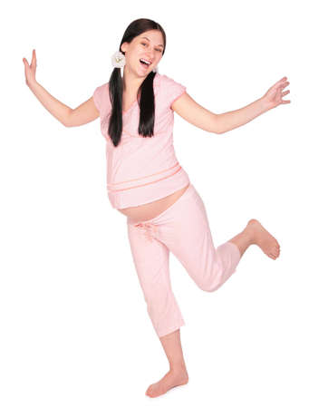 Pregnant girl dancing photo