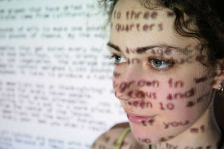 projected: text is projected on face of woman