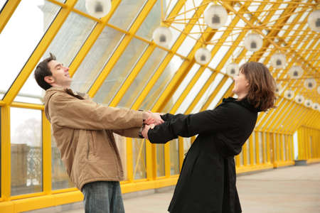 boy and girl hold each other for hands Stock Photo - 5155501