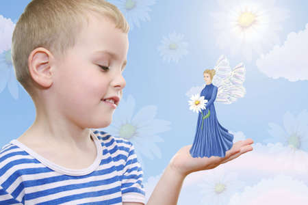 objection: boy dreaming about fairy Stock Photo