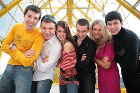 group of young friends on footbridge look on you Stock Photo - 5134685