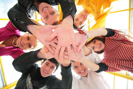 Six friends low angle view hands Stock Photo - 5134696