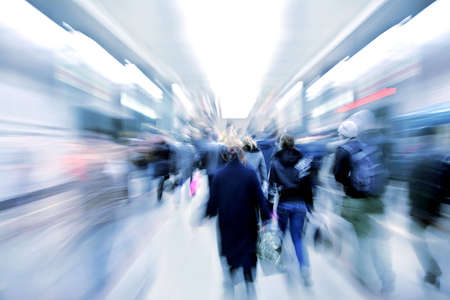 zoom earth: abstract zooming passengers in subway Stock Photo