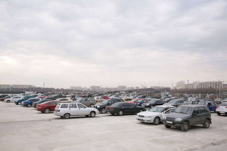 Cars on parking on roof