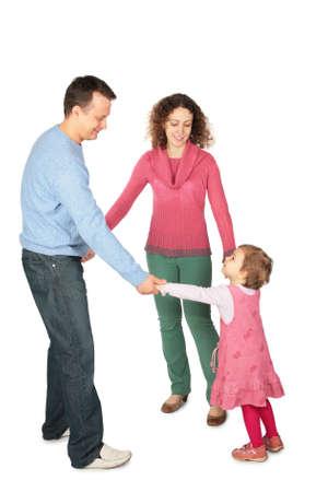 manos unidas: los padres est�n teniendo en la mano con la hija