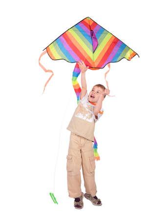 boy starts kite photo