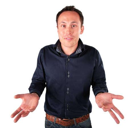 helpless: surprised  man makes  helpless gesture Stock Photo