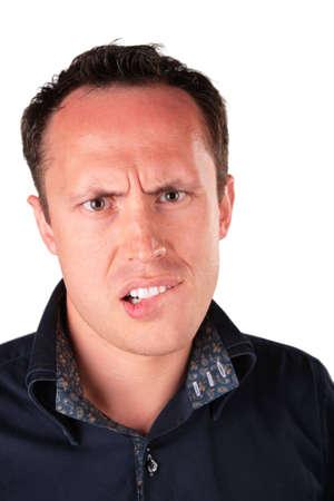 malign: angry man bites ones lip
