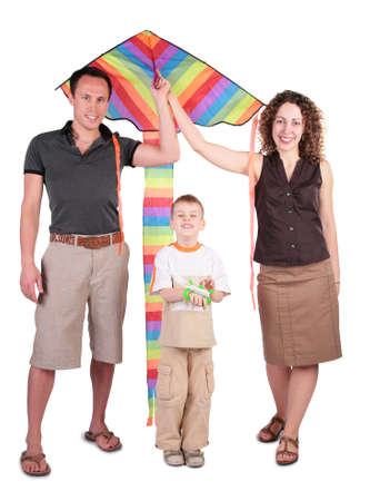 parents, son and color kite photo