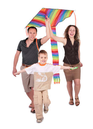 parents and son start kite photo