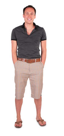 full face: smiling young man in sandals Stock Photo