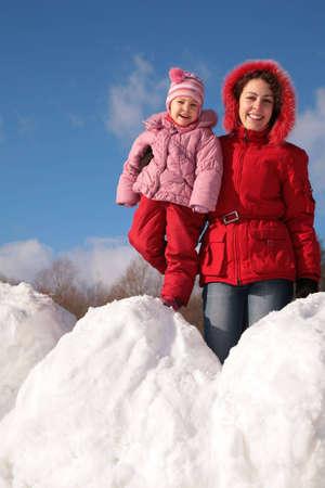 snowdrift: mother and child on snowdrift