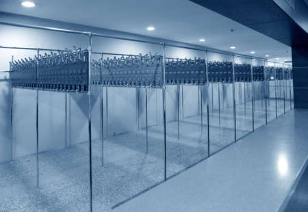 cloakroom: empty cloakroom Stock Photo