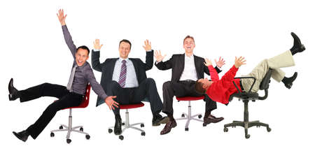 happy business people on chairs Stock Photo - 5165006