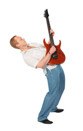 hold up: Young man with guitar hold up Stock Photo