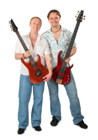 Two young men with guitars photo