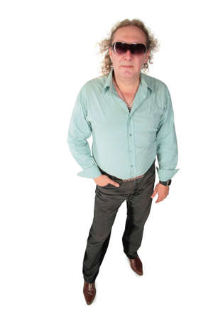 Standing big fat curly man in sunglasses photo