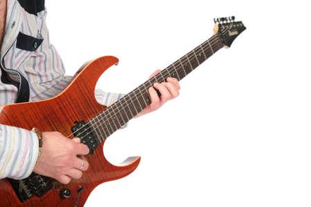 Closeup hands with guitar photo