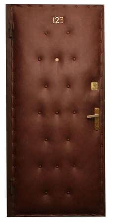 door casing: Door in brown artificial skin Stock Photo