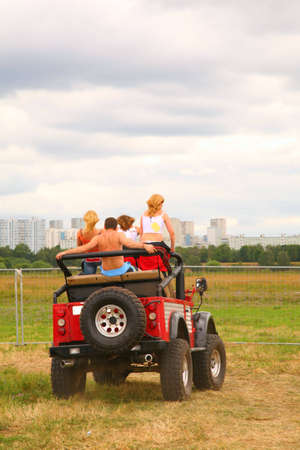 People in jeep from back and fence Stock Photo - 5107443