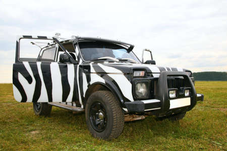 tripping: Black an white off-road car Stock Photo