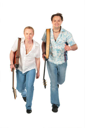 Two running men with guitars photo
