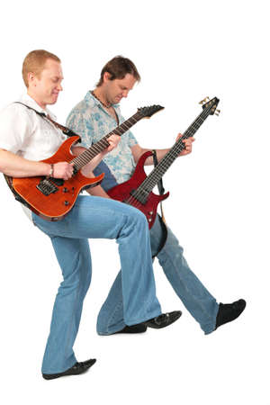 Two guitarists with leg up photo